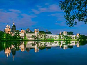 Обои Россия Москва Храмы Монастырь Речка Novodevichy monastery Города