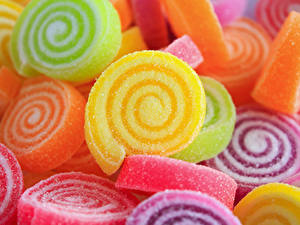 Фото Сладкая еда Мармелад Вблизи Разноцветные Еда