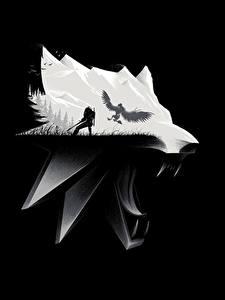 Картинка Ведьмак 3: Дикая Охота Волк Головы На черном фоне Игры