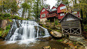 Фото Штаты Дома Водопады Камни Скала Transylvania North Carolina Природа