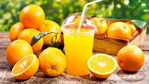 Фотография Цитрусовые Апельсин Сок Стакан Пища