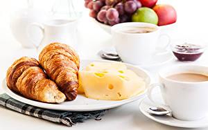 Обои Круассан Сыры Кофе Завтрак Тарелка Чашка