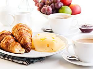 Обои Круассан Сыры Кофе Завтрак Тарелка Чашка Еда