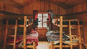 Фото Интерьер Кровате Мальчишка Три Деревянный Дизайн Окно Дети