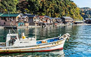 Фотография Япония Киото Здания Речка Пирсы Катера Города