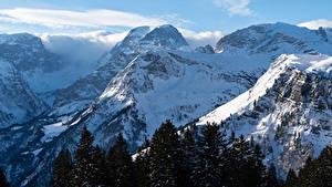 Фото Швейцария Горы Зимние Снег Braunwald Природа