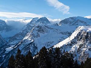 Фото Швейцария Горы Зимние Снегу Braunwald