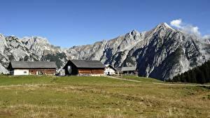 Обои Австрия Здания Горы Трава Gnadenwald, Tyrol