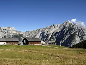 Обои Австрия Здания Горы Траве Gnadenwald, Tyrol