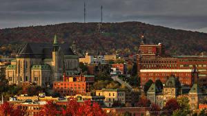 Картинки Канада Здания Осенние Sherbrooke Города