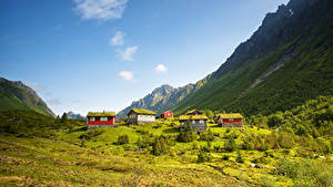 Обои Норвегия Горы Дома Kolas Природа