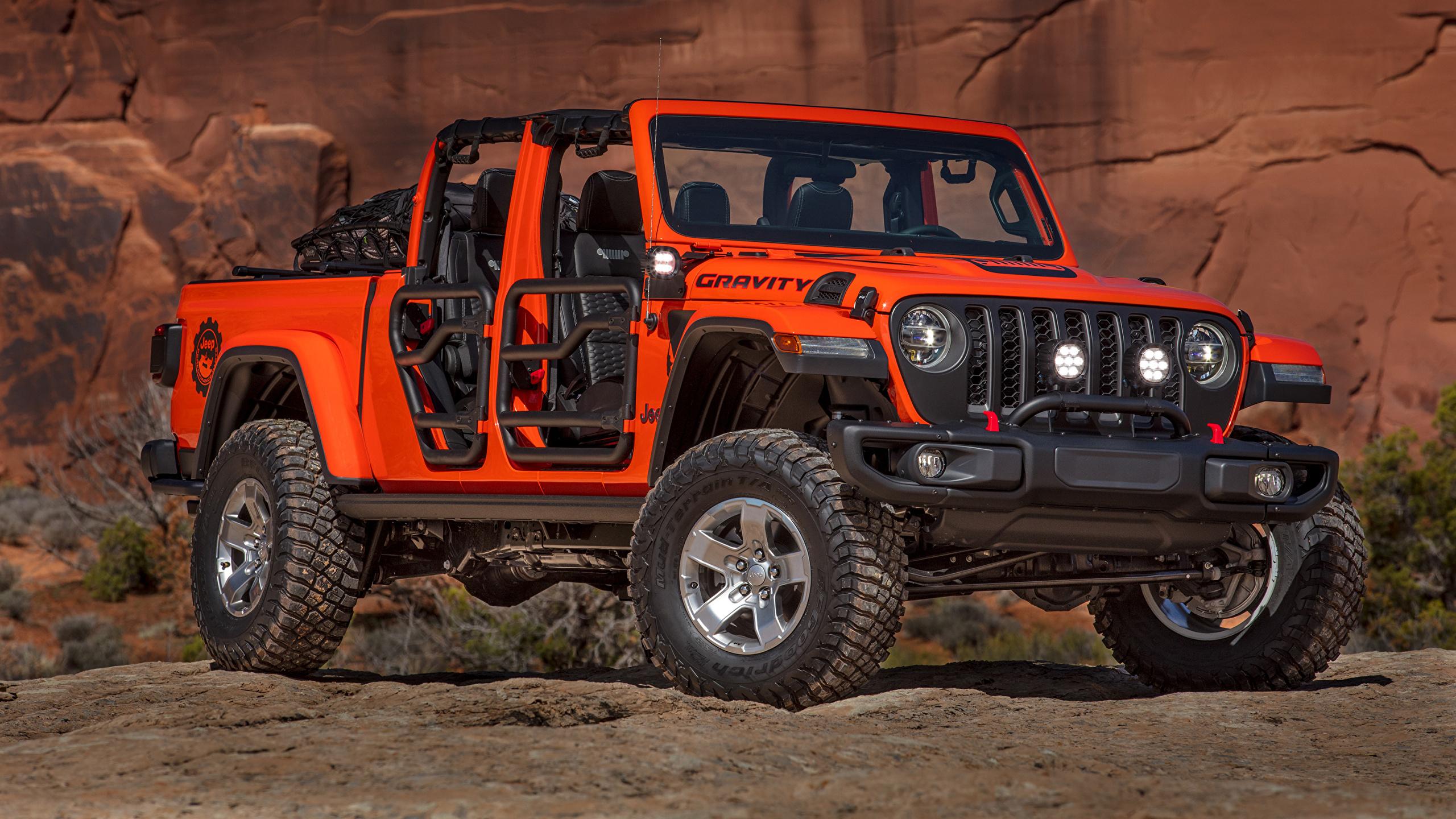 Фото Jeep 2019 Gladiator Gravity Пикап кузов Красный Автомобили 2560x1440 Джип красных красные красная авто машина машины автомобиль