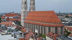 Обои для рабочего стола Здания Церковь Мюнхен Германия Памятники Собор Башни Бавария Frauenkirche Cathedral Города