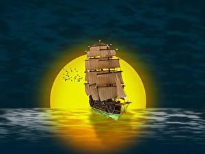 Фотографии Рассветы и закаты Корабли Парусные Солнце 3D Графика