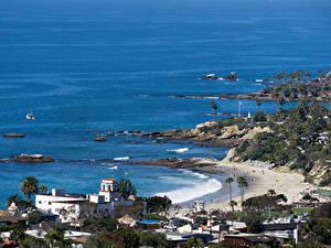 Фото Штаты Здания Берег Пляж Laguna Beach Природа