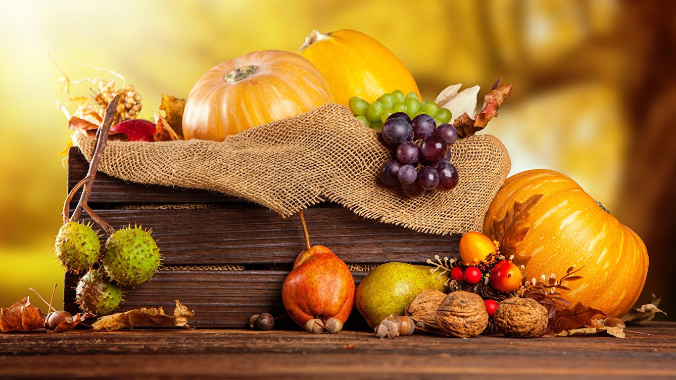 Фото Осень Тыква Груши Виноград Пища Орехи 1366x768 осенние Еда Продукты питания