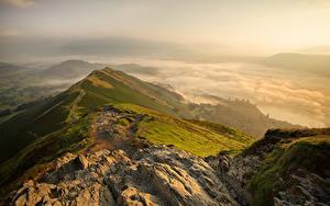 Картинка Англия Горы Рассвет и закат Cumbria Природа