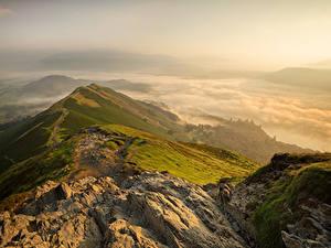 Картинка Англия Горы Рассвет и закат Cumbria