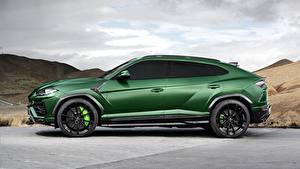 Фотографии Lamborghini Зеленый Сбоку 2018 TopCar Urus Машины