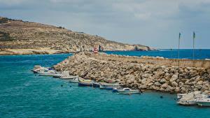 Обои для рабочего стола Мальта Пирсы Катера Залива Холм Island Gozo Природа