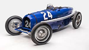 Картинки Винтаж BUGATTI Синий Серый фон Classic Grand Prix 1933 Type 59 Grand Prix Машины