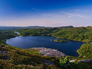 Фотографии Швеция Пейзаж Озеро Холм Hotagen Природа