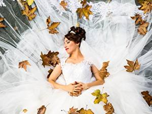 Обои Осень Листья Невесты Свадьба Платья Шатенки молодая женщина