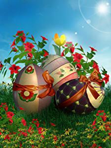 Фотографии Пасха Праздники Альстрёмерия Яйца Бантик Дизайна Траве цветок