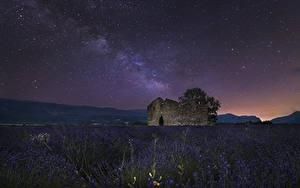 Фотография Франция Поля Лаванда Небо Звезды Руины Ночью Valensole Природа