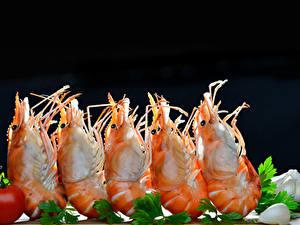 Фотография Морепродукты Креветки Вблизи Овощи Черный фон Пища