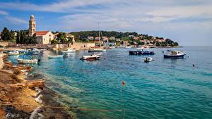 Фотография Хорватия Дома Пирсы Катера Берег Залив Hvar город