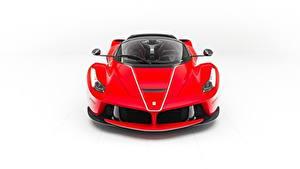 Обои Феррари Белом фоне Спереди Красная Металлик LaFerrari, F70/F150 авто