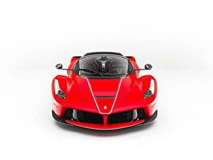 Обои Феррари Белом фоне Спереди Красная Металлик LaFerrari, F70/F150