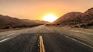 Обои Дороги Рассветы и закаты Солнце Асфальт Природа