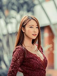 Картинки Азиаты Размытый фон Шатенка Смотрят девушка