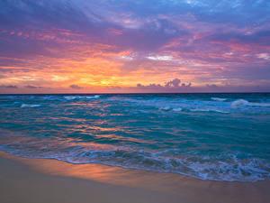 Фото Мексика Море Берег Волны Рассветы и закаты