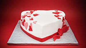 Фотография День всех влюблённых Сладости Торты Красный фон Дизайн Сердечко