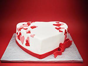 Фотография День святого Валентина Сладкая еда Торты Красный фон Дизайн Серце