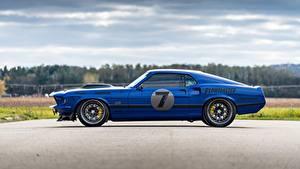 Картинки Форд Сбоку Синих 1969 Mustang Mach 1, By RingBrothers автомобиль