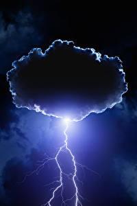 Картинка Небо Ночь Молния Облака Природа