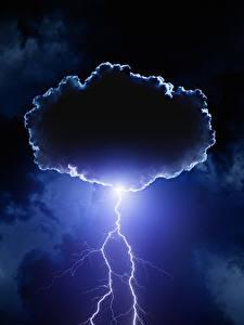 Картинка Небо Ночь Молнии Облако Природа