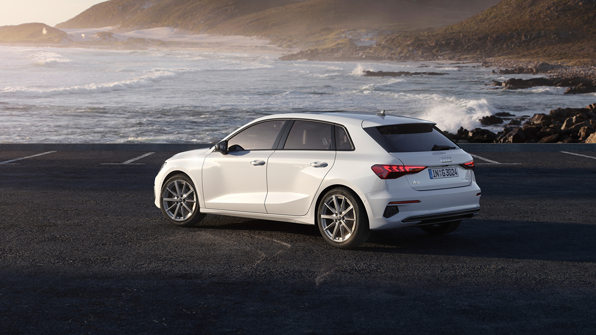 Картинка Audi A3 Sportback 30 g-tron, 2020 Белый Металлик Побережье Автомобили 1920x1080 Ауди белых белые белая авто берег машина машины автомобиль