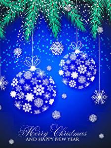 Картинки Новый год Векторная графика Ветки Шарики Английский Снежинки