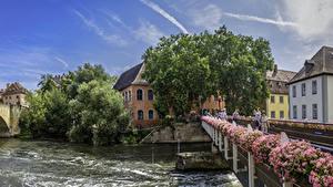 Картинки Германия Здания Реки Мост Бавария Bamberg Города