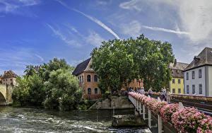 Картинки Германия Здания Реки Мост Бавария Bamberg