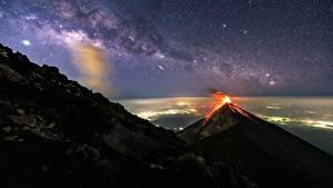 Фото Млечный Путь Гора Вулкана Ночные Guatemala, Akatenango Природа