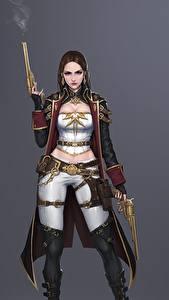 Обои Пистолетом Воин Серый фон Плаще Bageumi Фэнтези Девушки