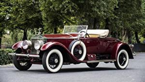 Картинка Rolls-Royce Винтаж Кабриолета Бордовая Металлик 1926 Silver Ghost 40-50 Piccadilly Roadster Автомобили