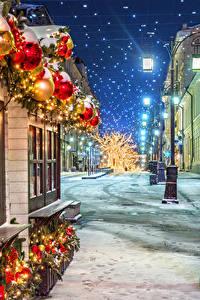 Фотографии Москва Рождество Россия Зима Снег Улица Уличные фонари Ночь Manezhnaya Square