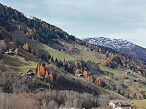 Фотографии Австрия Гора Осень Дома Снегу Поселок Großkirchheim